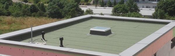 Von Matic gedecktes Flachdach mit Fenster