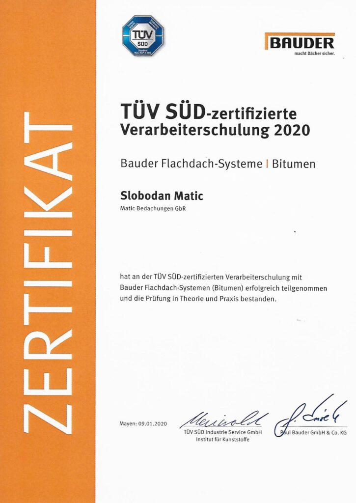 TÜV SÜD Zertifizierung für Matic Bedachungen